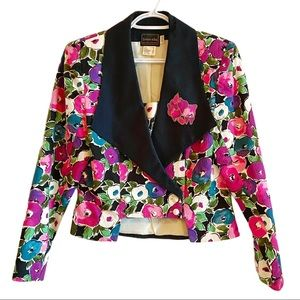 Vintage 80's fitted cropped floral blazer